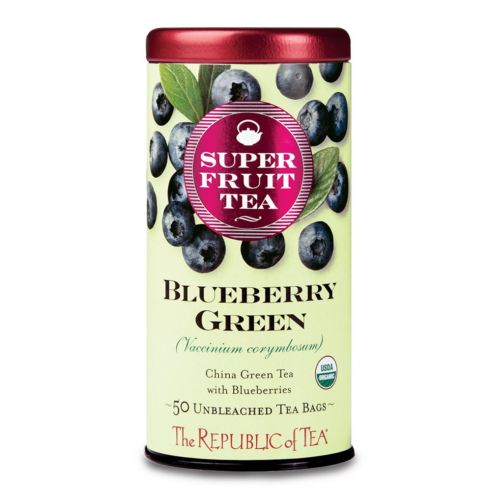 The Republic of Tea, Organic Blueberry Green Superfruit Tea, Caffeinated, 50 Tea Bags