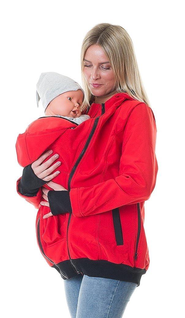 Divita 4in1 Tragejacke für Tragetuch Babytrage Umstandsjacke Softshell Allwetter Mama Baby D37/3