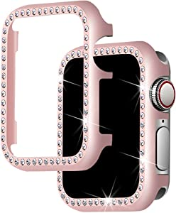 Falandi for Apple Watch Case 40mm, Series 6 Series SE / 5/4 iWatch Face Case with Bling Crystal Diamonds Plate iWatch Case Cover Protective Frame for Apple Watch (Rose Gold-Diamond, 40mm)