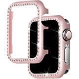 for Apple Watch Case 38mm, Falandi Apple Watch Face Case with Bling Crystal Diamonds Plate iWatch Case Cover Protective Frame for Apple Watch Series 5/4/3/2/1 (Rose Gold-Diamond, 38mm)