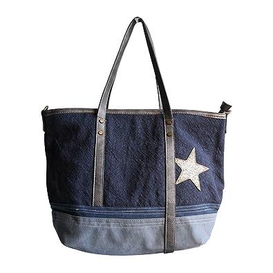 Shopping-et-Mode - Sac à main bleu foncé et gris en tissu toilé ... aabe27c4a593