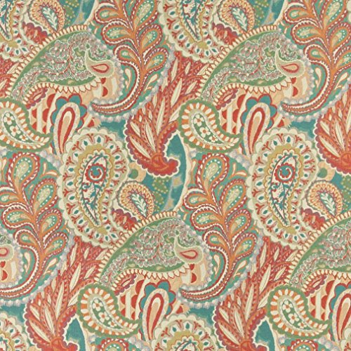 A0024A Orange Teal Green and Orange Abstract Paisley Contemporary Upholstery Fabric by The Yard ()