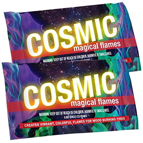 (Cosmic Flames - Pack of 25 - Magic Flames - Colored Flames - Long Lasting Campfire Flames - Wood Burning - Brilliant Colors - Safe Fire Colorant - No Mess)