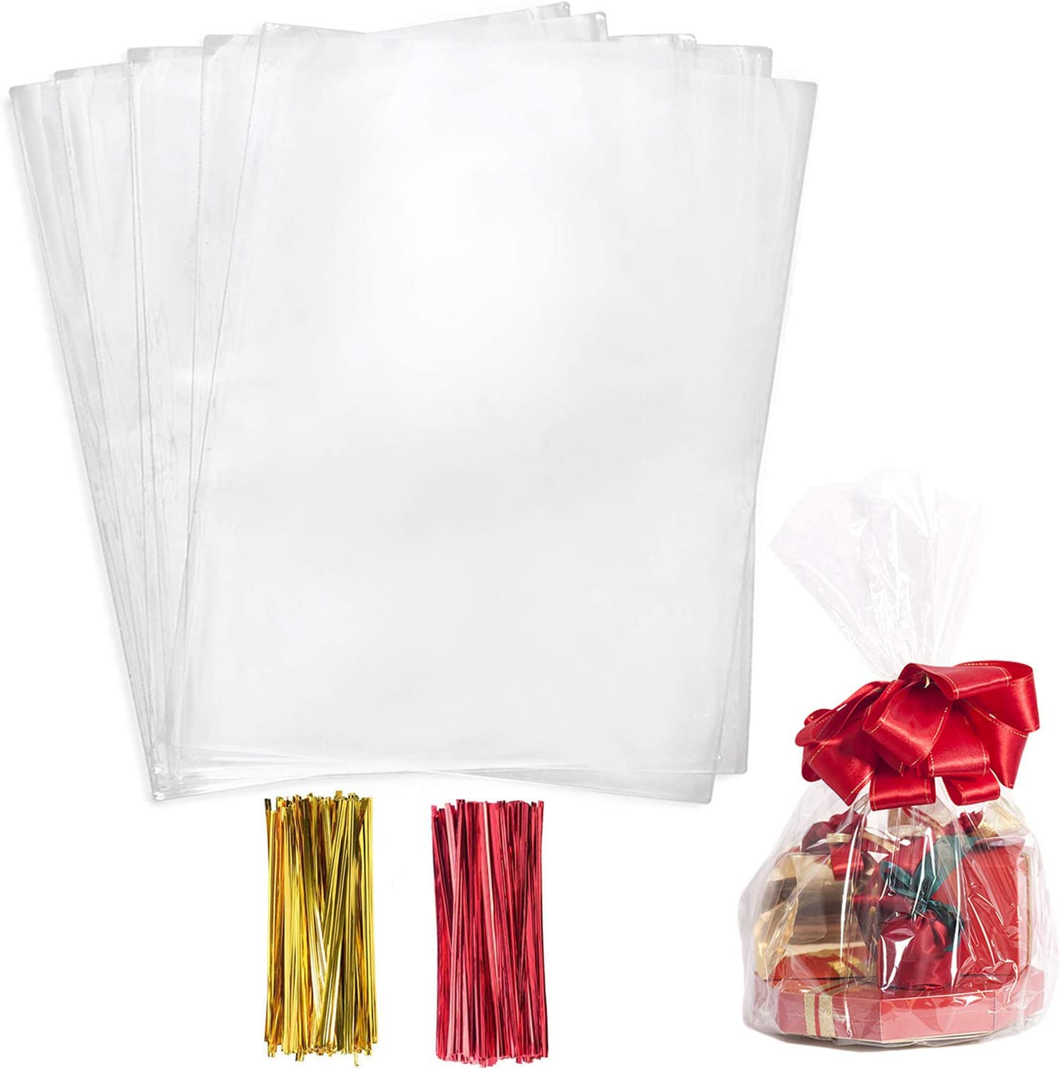 Cello Cellophane Treat Bags,200 PCS Clear Pastic Gift Bags with Twist Ties,Party Favor Bags (8