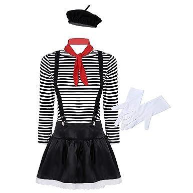 CHICTRY - Disfraz de Mime Artist para mujer, camiseta a rayas ...
