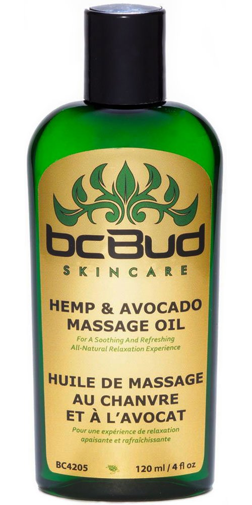 Hemp Massage Oil, All Natural, Unscented for Sensitive Skin, Relaxing, Sensual, Healing, Non Greasy for Stress Relief, Fragrance Free, Hypoallergenic with Grapeseed Oil, Jojoba Oil, Avocado Oil,120 ml /4 fl oz by BC Bud Natural Hemp Skincare