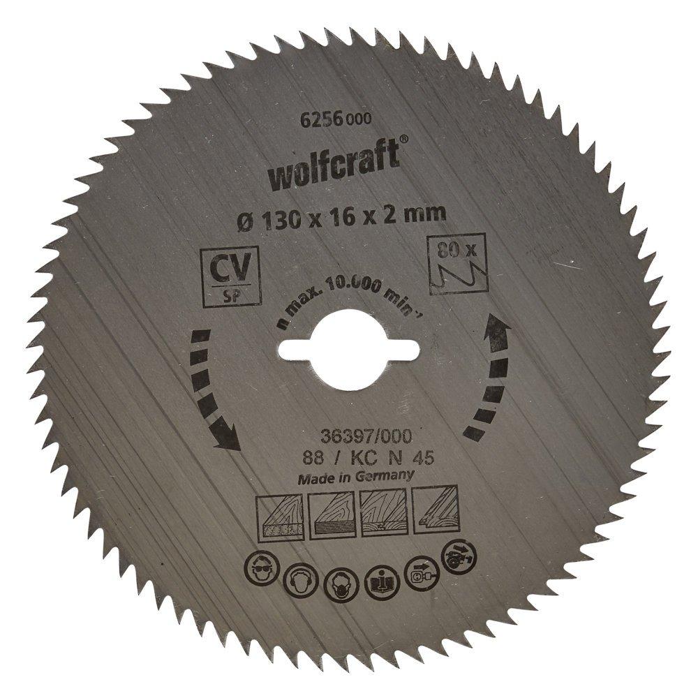 Wolfcraft 6256000 Kreiss/äge-Blatt 130 x 16 x 2 mm 80 Z/ähne