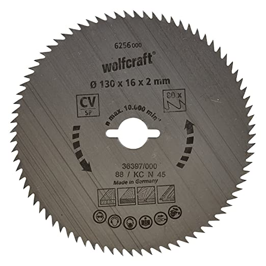 8 opinioni per Wolfcraft 6256000- Lama per sega circolare in CV, grana 80, diametro 130 x 16 mm