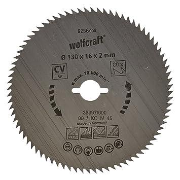a20da285f5b851 Wolfcraft 6256000 Lame scie circulaire CV 80Dts Diamètre 130 x 16 mm ...