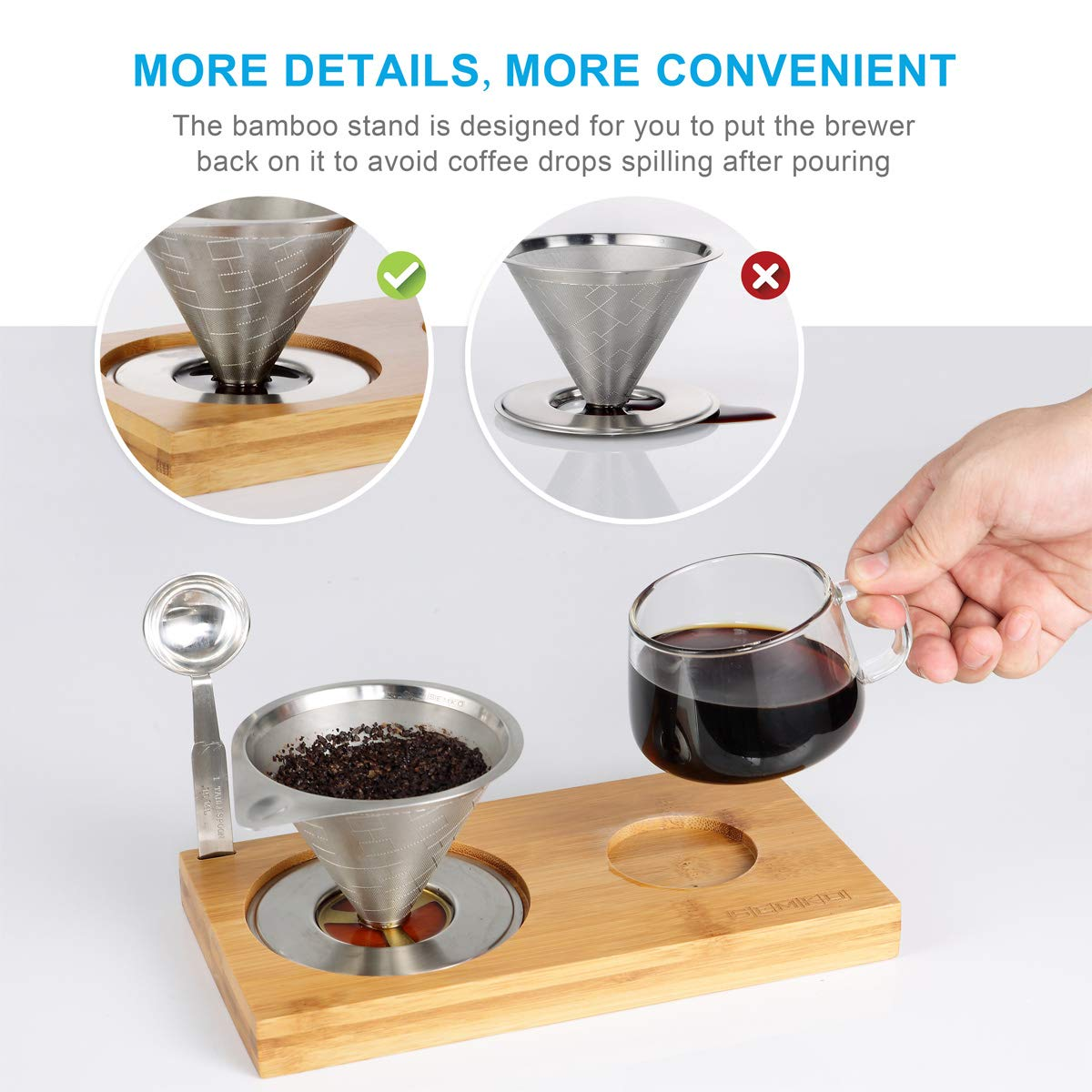 4 pcs/set, Single Serve Coffee Maker, Stainless Steel Coffee Dripper, Pour Over Coffee Maker, One Cup Coffee Maker Set, 8 oz Coffee Cup, Convenient Compact Dishwasher Safe Paperless Gift-ready Package by SEMKO (Image #4)