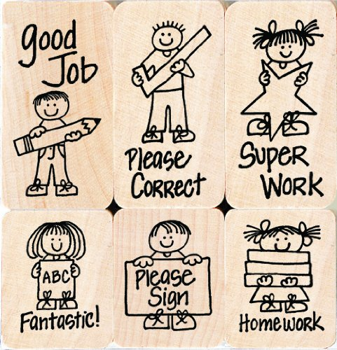 Hero Arts LL504 Woodblock Stamps, Hero Kids for Teachers (Teacher Rubber)