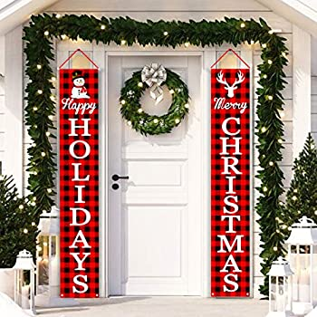 Christmas Decorations Outdoor Porch Signs | Merry Christmas & Happy Holidays Red Black Buffalo Plaid Xmas Porch Decorations for Front Door or Home, Apartment, Yard