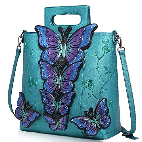 Shoulder Handbag Butterfly 2018 Verde Bag Oscuro Big Painted Hlh Wind Female Embroidery National Lady 8qSfPw