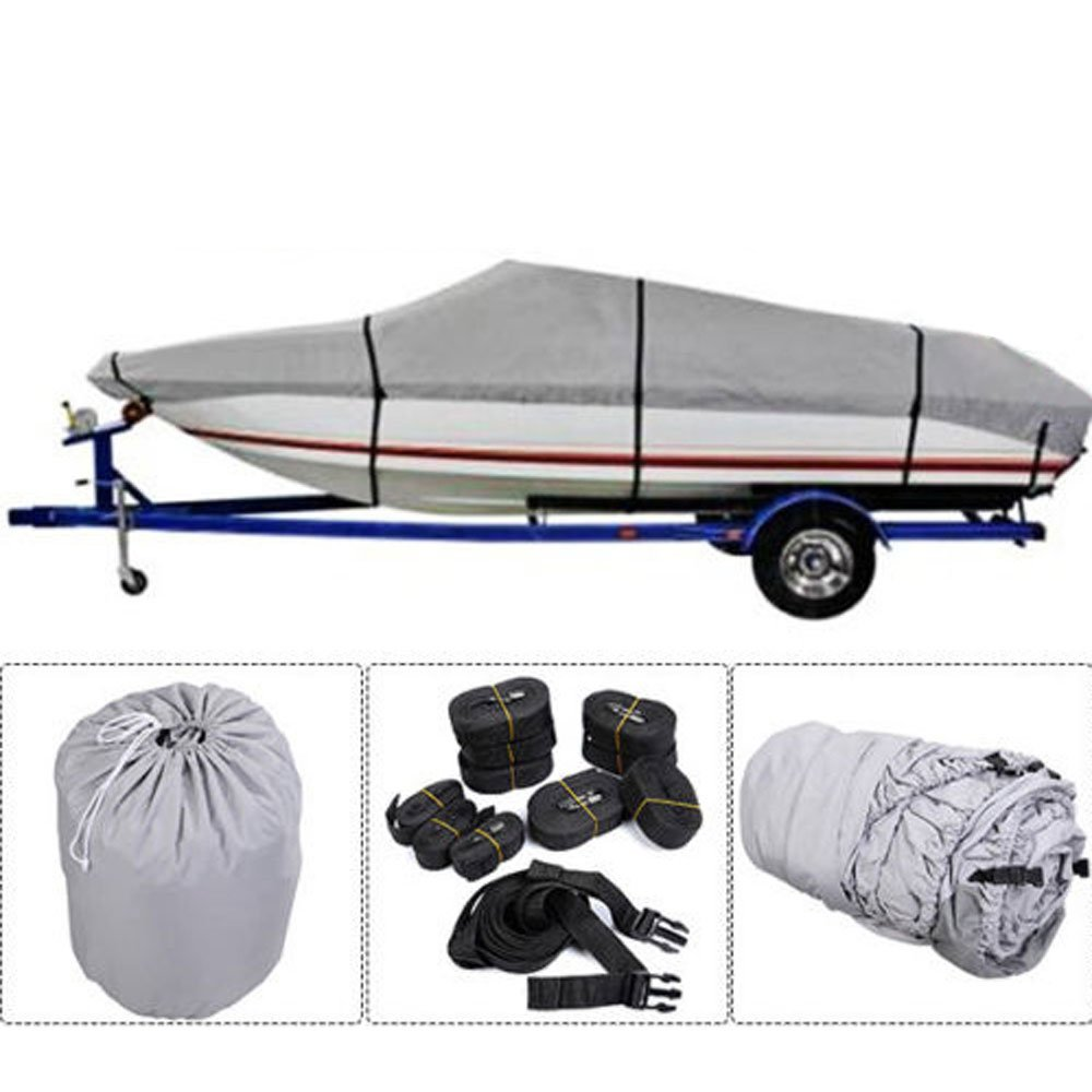 OASIS FOX 20-22 FT Trailerable Pontoon Boat Cover Heavy Duty 600D Polyester Waterproof Boat Cover with Storage Bag,Gray