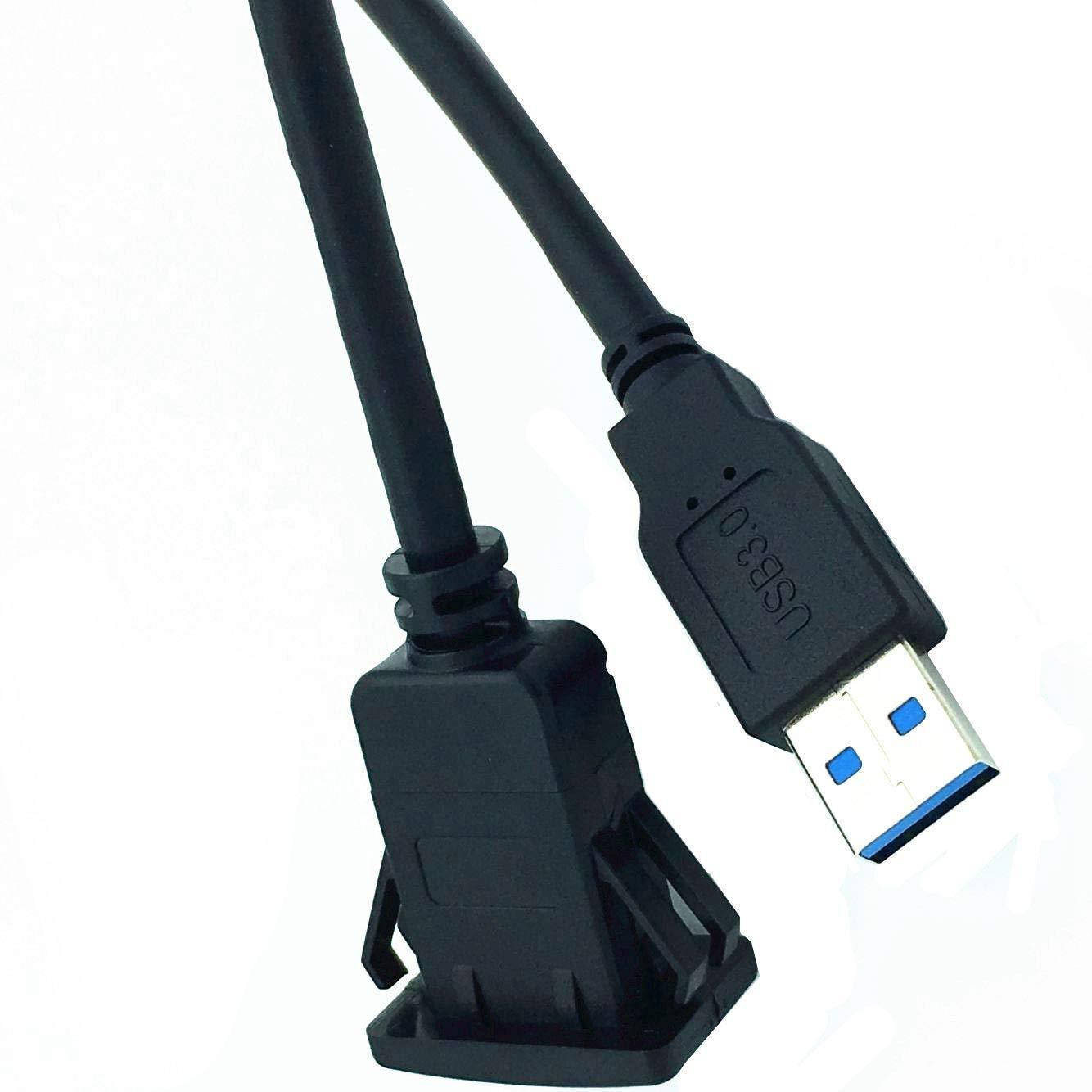 Semoic Cable DExtension De Montage De Panneau Encastr/é USB 3.0 Male /à Femelle Aux pour Tableau De Bord De Voiture Camion Bateau Moto 2M