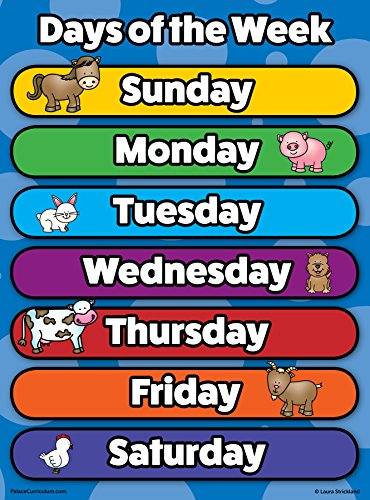 Poster Day - Days of The Week Poster Chart - Laminated - Double Sided (18 x 24)