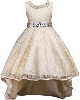 Qitun Fiore Ragazze Bambina Senza Maniche Abiti da Cerimonia Eleganti  Principessa Partito Matrimonio Comunione Compleanno Vestiti 3fc8d759be3