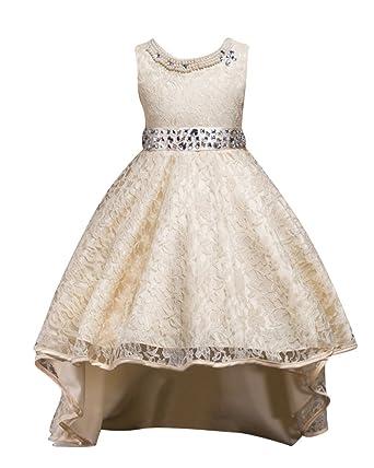 5e01d1d96415 Qitun Fiore Ragazze Bambina Senza Maniche Abiti Da Cerimonia Eleganti  Principessa Partito Matrimonio Comunione Compleanno Vestiti Principessa  Vestito ...
