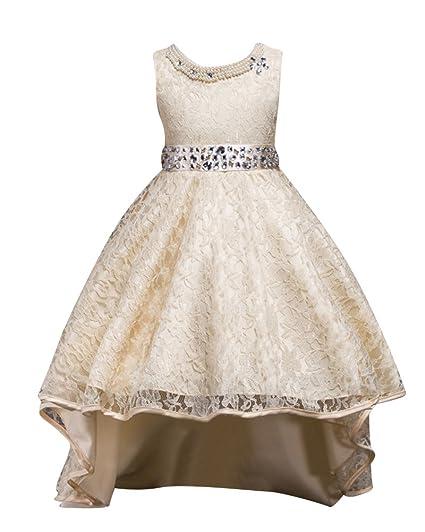 Qitun Fiore Ragazze Bambina Senza Maniche Abiti da Cerimonia Eleganti  Principessa Partito Matrimonio Comunione Compleanno Vestiti 9c39c3f865d