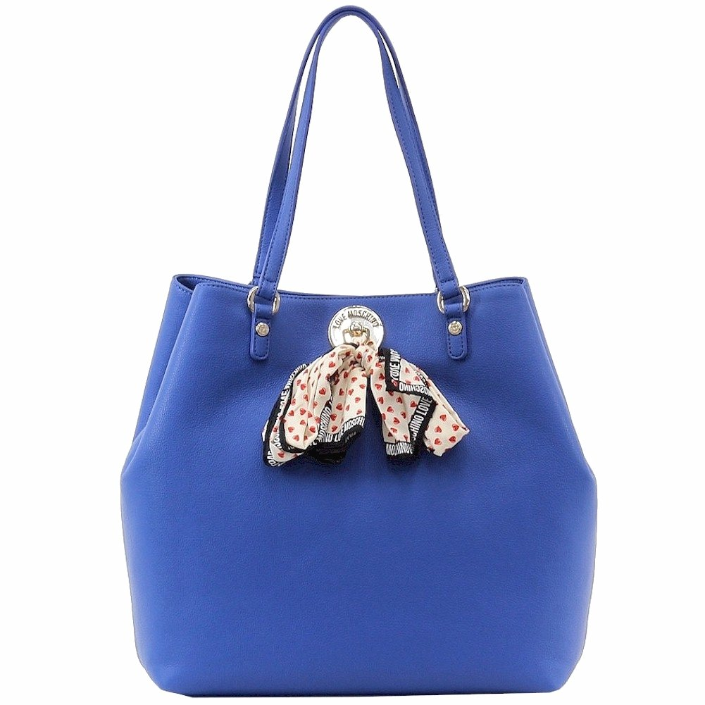 Love Moschino Women's Blue Tote Handbag W/Scarf