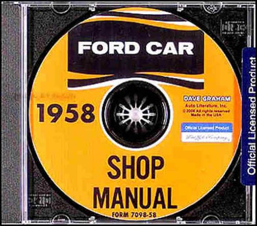 1958 FORD FACTORY REPAIR SHOP & SERVICE MANUAL CD - INCLUDES: Ford Fairlane, Fairlane 500, Skyliner, Sunliner, Victoria, Ford Custom, Custom 300