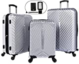 Cheergo PC 3 Piece Hardside Suitcase Luggage Set Expandable Spinner Trolley TSA Lock 20 24 28 inch Silver