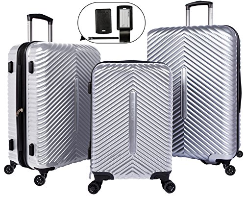 Cheergo PC 3 Piece Hardside Suitcase Luggage Set Expandable Spinner Trolley TSA Lock 20 24 28 inch Silver by cheergo