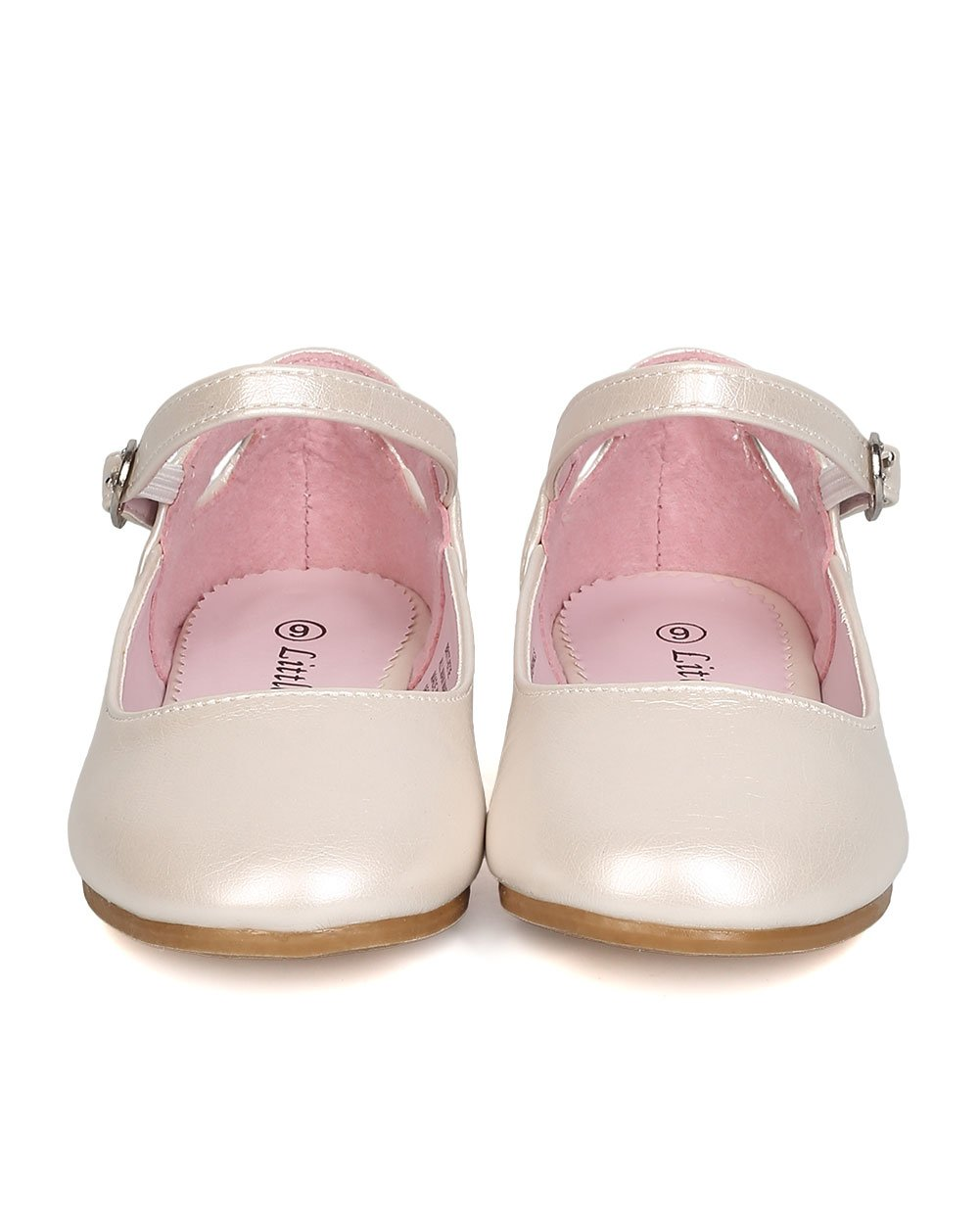 Girls Leatherette Ankle Strap Cut Out Ballet Flat GB42 - Ivory (Size: Little Kid 1) by Little Angel (Image #4)