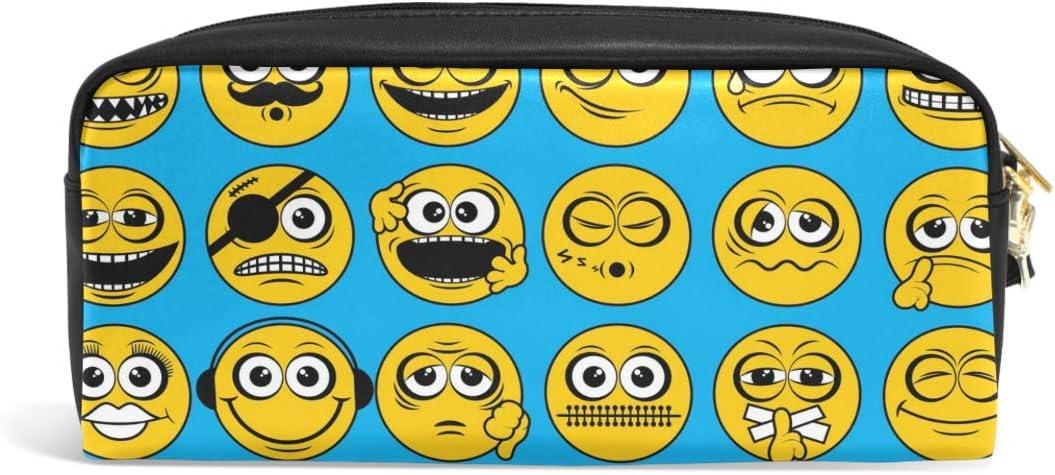 Hunihuni Emoji Emoticon - Estuche para lápices (piel sintética, con cremallera, gran capacidad): Amazon.es: Oficina y papelería