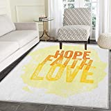 Hope Rugs for Bedroom Inspirational Religious Hope Faith Love Quote with Grunge Letters Circle Rugs for Living Room 3'x5' Orange Yellow and Pale Yellow