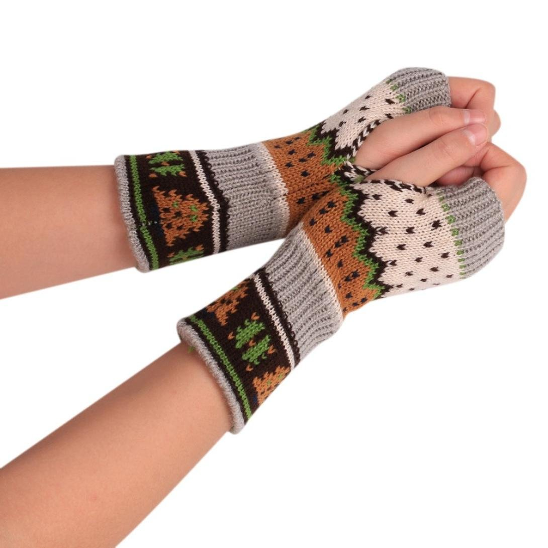TAORE Christmas Knitted Fingerless Soft Gloves Arm Warmer Thumb Hole Mittens, 20/7.87'' (Beige)