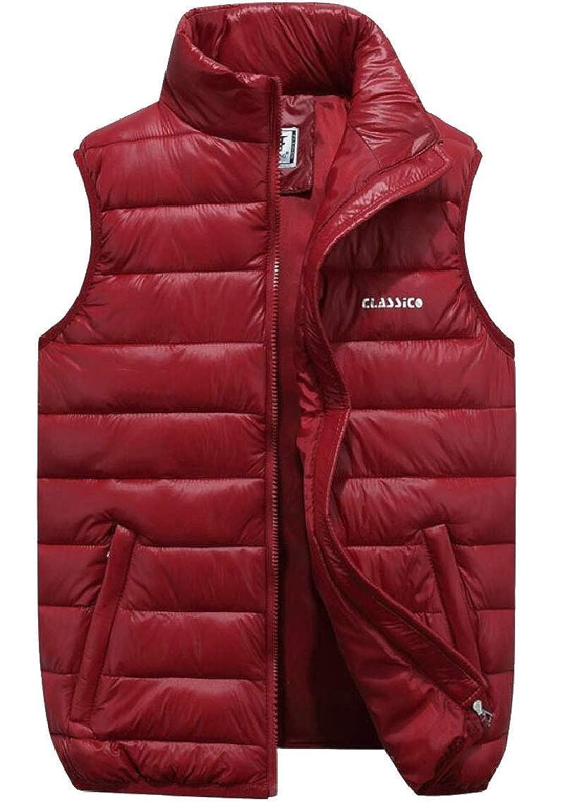 QD-CACA Men's Winter Sleeveless Quilted Thicken Warm Big-Tall Down Vest Jackets