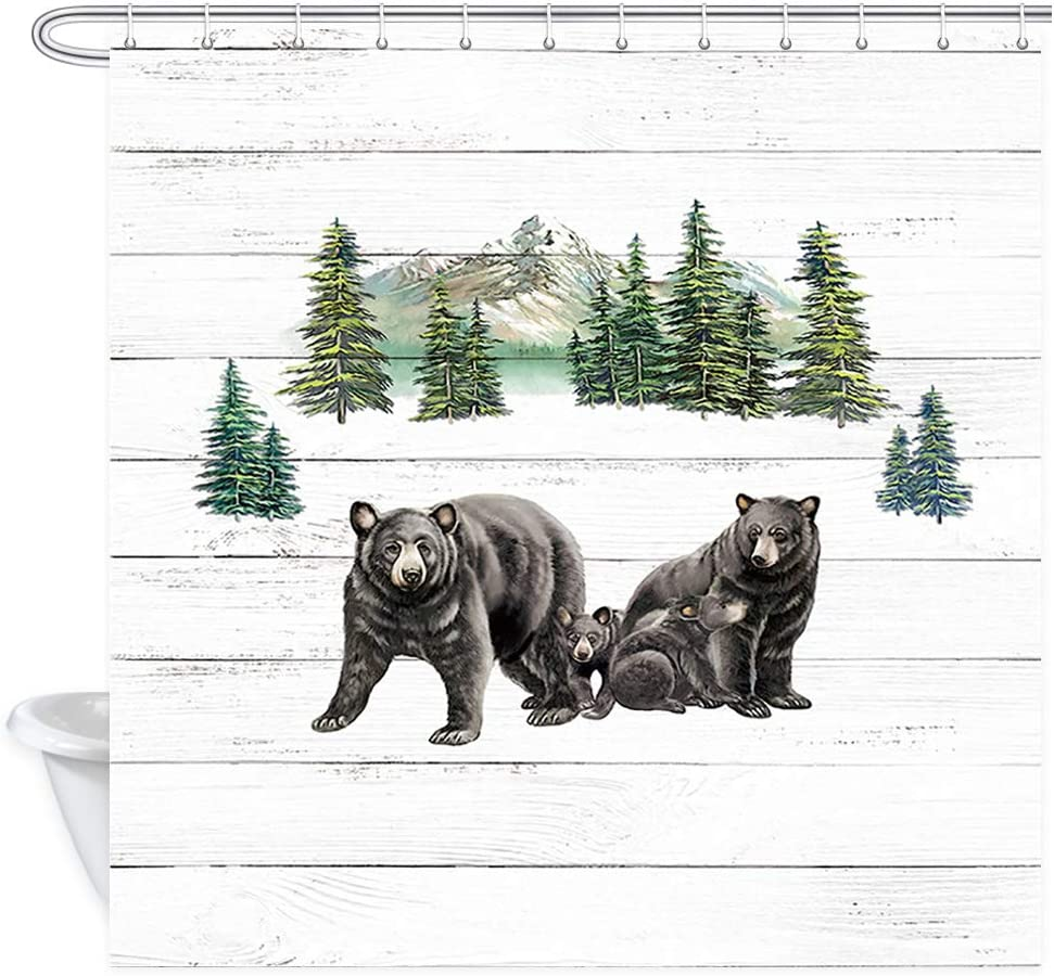 Black Bear Shower Curtain, Country Wild Animals and Natural Mountains Forest Scenery Farmhouse Rustic Cabin Wildlife Shower Curtain, Wooden Board Bathroom Decor Sets (69'' W by 70'' L)