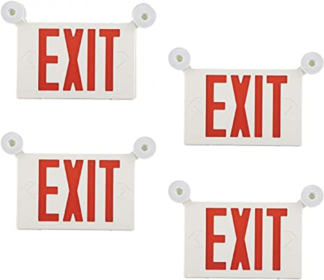 EXITLUX LED Emergency Lighting Fixtures Commercial Combo Exit Light with Two LED Head,Back-up Batteries,Red EXIT Sign,220//277V,US Standard,Wall Mounted,for Hospital,Apartments,Churches