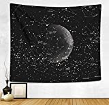 HAOCOO Starry Sky Pattern Wall Hanging Tapestry for Bedroom / Living Room / Dorm Accessories (51 x 60 Inch, Moon Constellations)