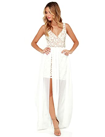 99d2fbf908c8 Blooming Jelly Womens White Sleeveless Deep V Neck Backless Lace Chiffon  Bodycon Summer Maxi Dress at Amazon Women s Clothing store