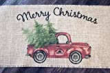 Vintage Red Truck Christmas burlap table runner