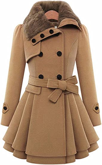 Double Breasted Faux Fur Winter Coat BROWN