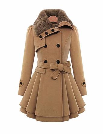 Emma Damen 2017 Winter Fashion Duffle Mantel Mit Pelzkragen Faux Fur
