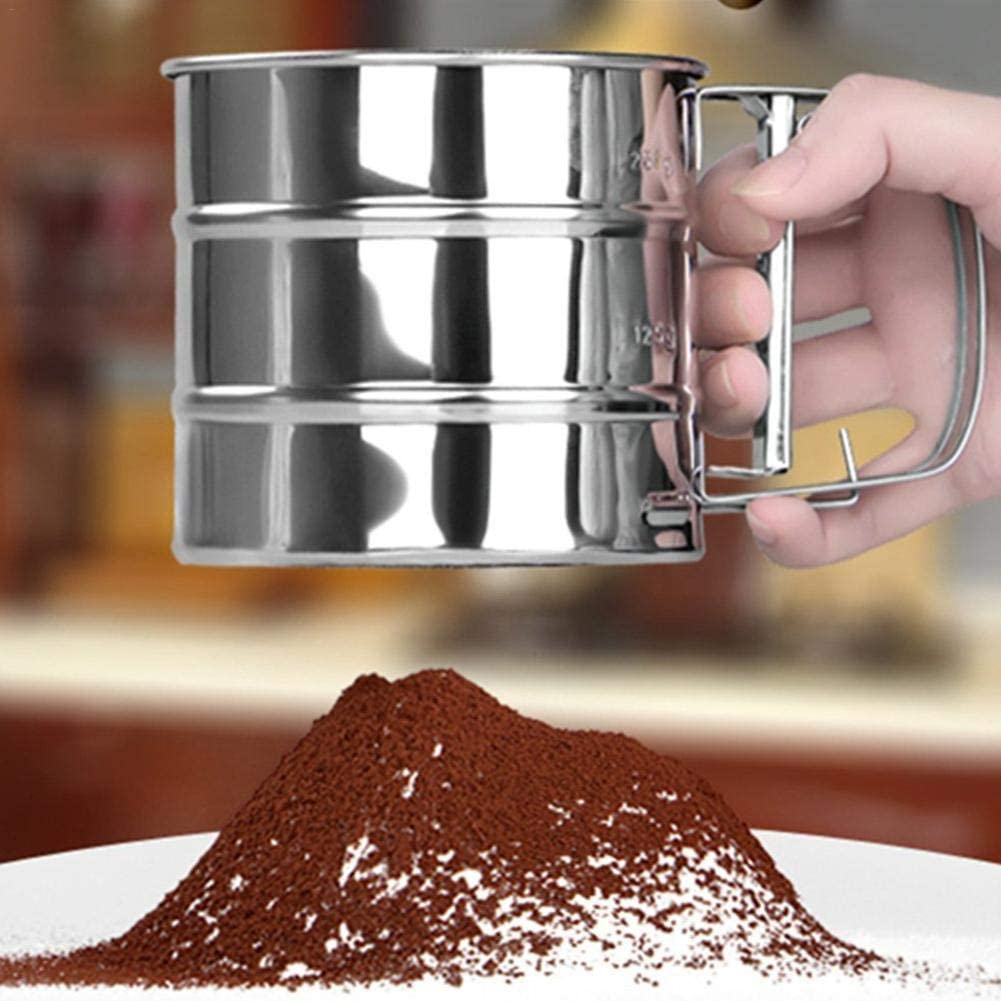 One-hand Operation Flour Mesh Sifter Shaker Baking Sugar Icing Chocolate Powder Cocoa Parmesan Cheese Making Pastry improvement Rosymity Cup Shape Flour Sifter Stainless Steel Mesh Sieve with Handle