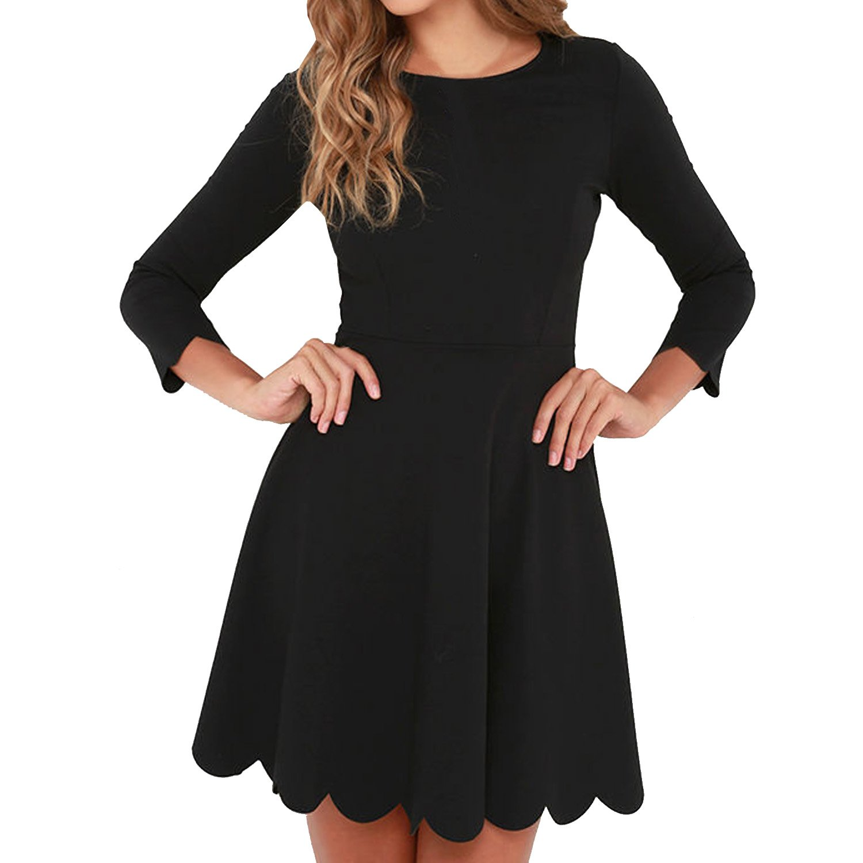 SUNNOW Women's O-Neck 3/4 Sleeve Pleated Tunic Wavy Skater Dress (XL, Black)