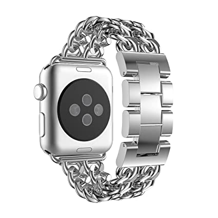 for Apple Watch Band 38mm Silver, Aottom iWatch Band 38mm Cowboy Chain Stainless Steel Smart