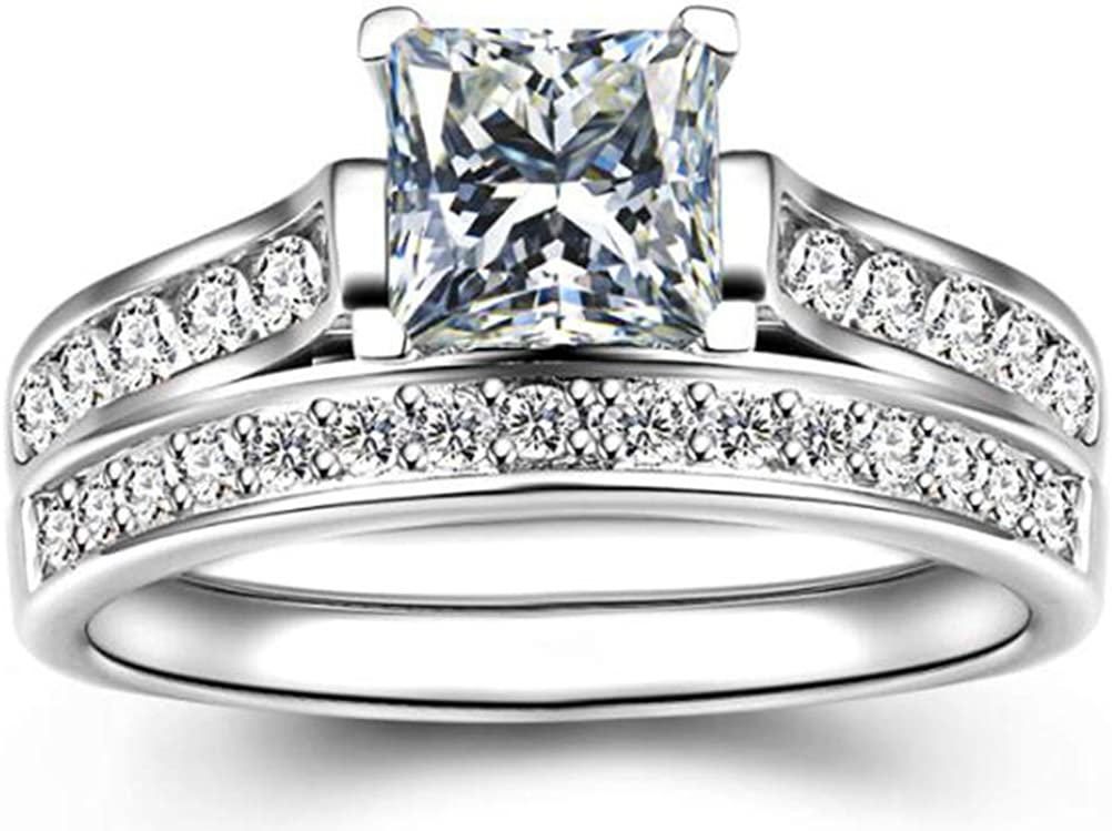 TEMEGO 14k White Gold Silver Cubic Zirconia Princess Cut Bridal Sets Wedding Rings,Size 5-11