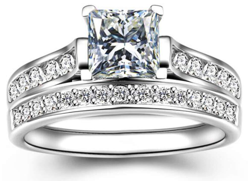 TEMEGO 14k White Gold Silver Cubic Zirconia Princess Cut Bridal Sets Wedding Rings,Size 8