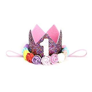 TOYMYTOY Cappellino compleanno 1 anno Happy Birthday Buon Compleanno Fascia Corona Tiara neonata con fiori (1)