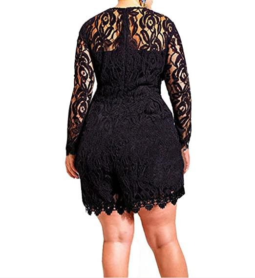 17e19fc9ae Amazon.com  Capray Women Sexy Long Sleeve Lace Plus Size Playsuit Jumpsuit  Shorts Party Evening (Black)  Clothing