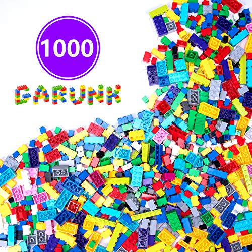 GARUNK Building Bricks 1000 Pieces Set, 1000 Pieces Classic Building Blocks in 11 Colors with Windows and Doors Compatible with All Major Brands -