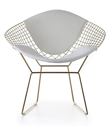 Superieur Amazon.com: Wire Mesh Bertoia Style Diamond Chair In Gold Finish   White  Pads: Kitchen U0026 Dining