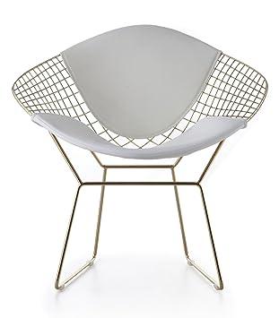 Amazon.com: Wire Mesh Bertoia Style Diamond Chair In Gold Finish ...
