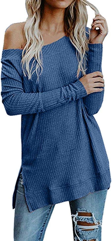 Damen Langarm Lose Pullover Sweatshirt Bluse Longshirt Sweater Tops Oberteile